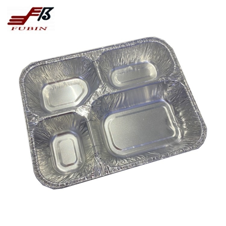 4 Compartments Aluminium Foil Lunch Box Food Grade
