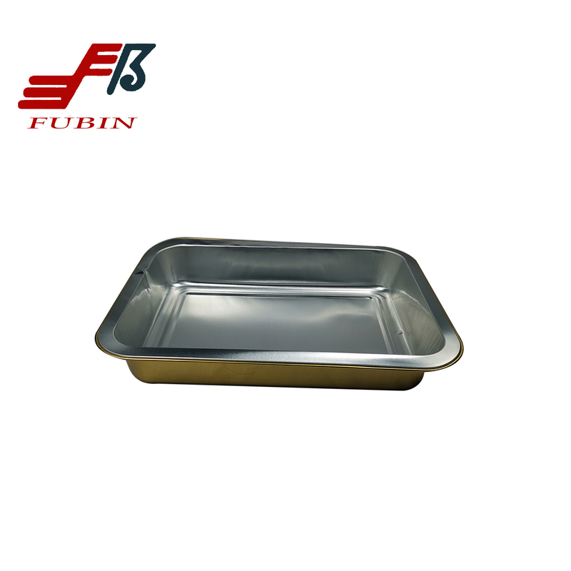 220x150mm Airline Meal Tray Gold Food Tray Aluminum Foil
