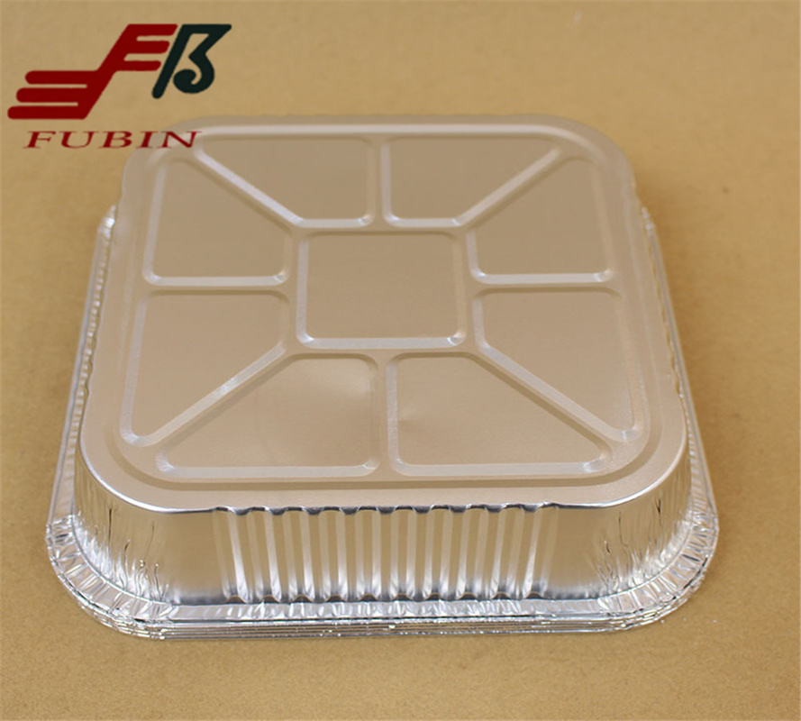 1400ml Barbecue Silver Foil Box For Food Packaging Customized