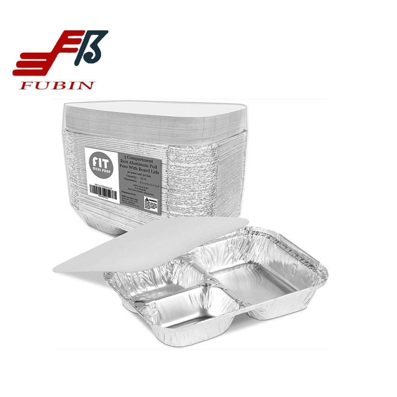 3 Compartment Foil Tray Lid Paper Material Grease resistance