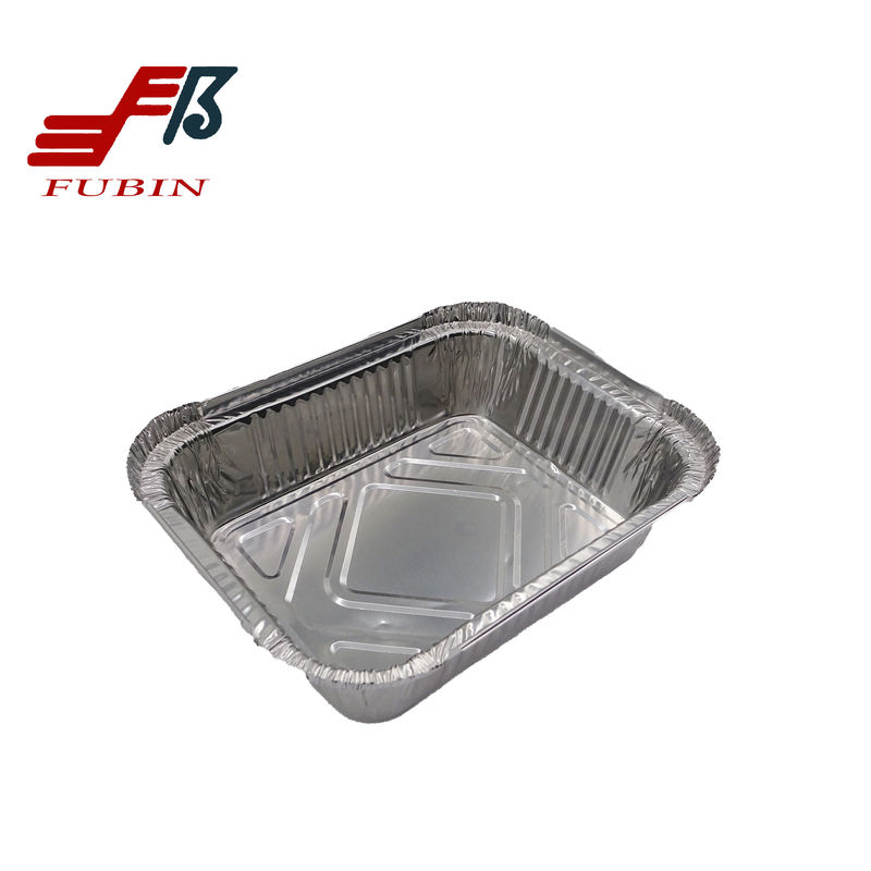 Hygienic Recycable Rectangular Foil Trays For Take Home