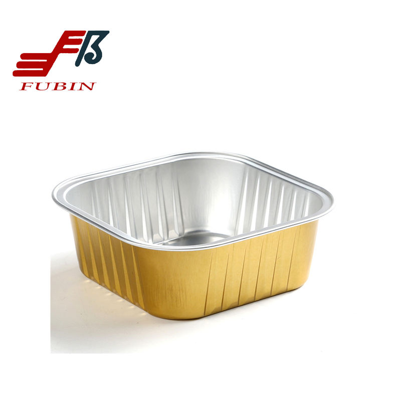 Square Airline Meal Tray Silver Gold Thermal Insulation